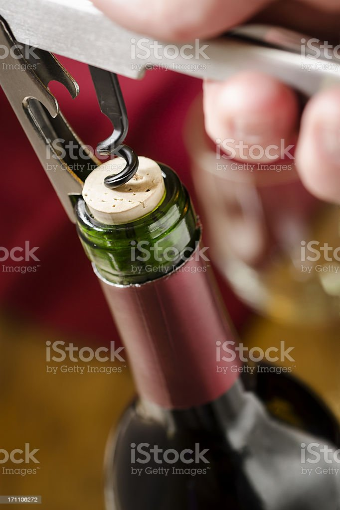 Opening Red Wine Vertical stock photo