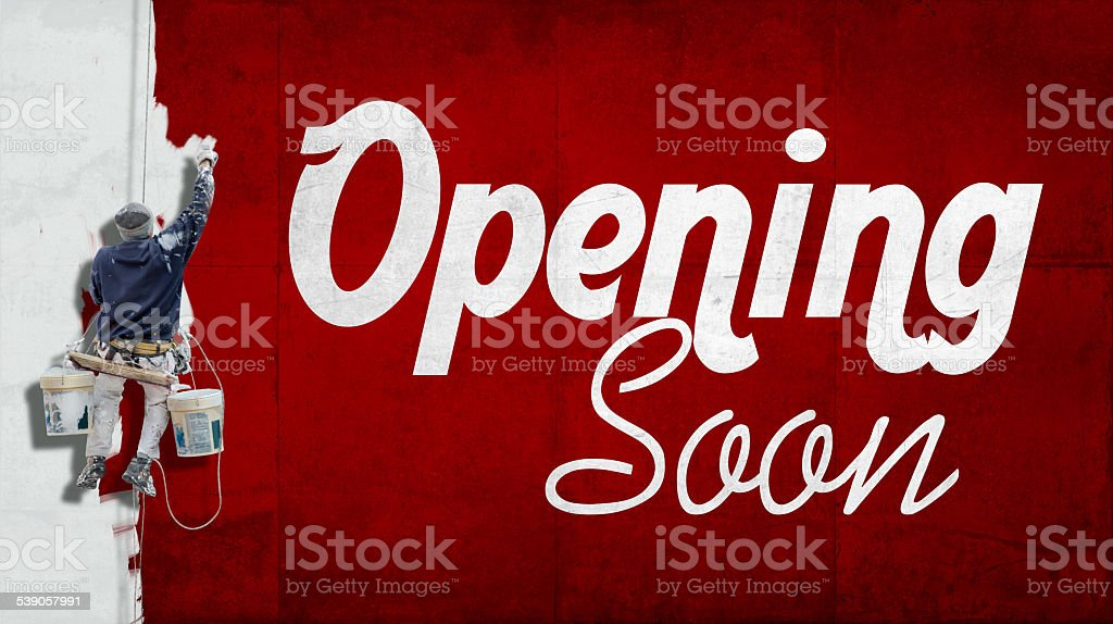 Opening soon stock photo