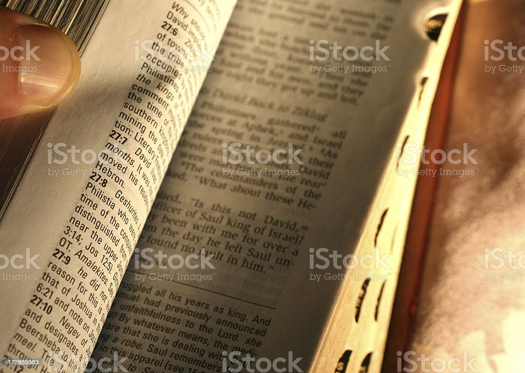 Opening the Bible royalty-free stock photo