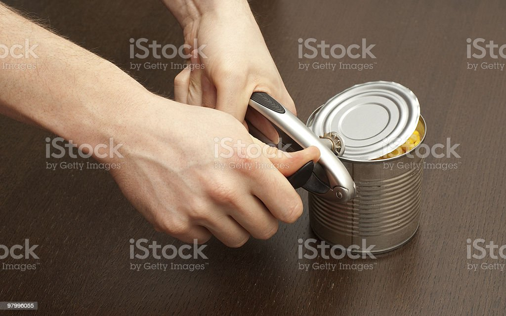 Opening the can royalty-free stock photo