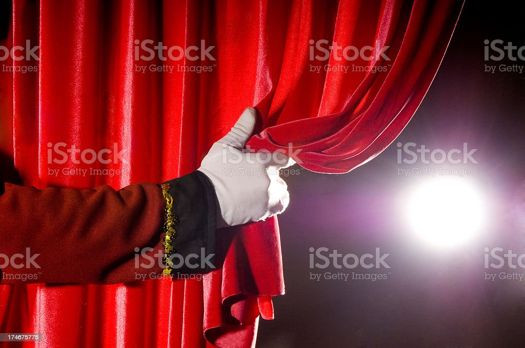 opening the curtain stock photo