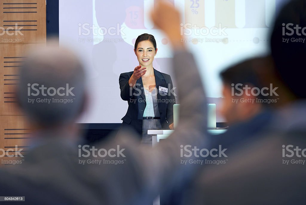 Opening the floor for questions stock photo
