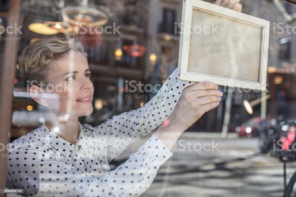 Opening the furniture store stock photo