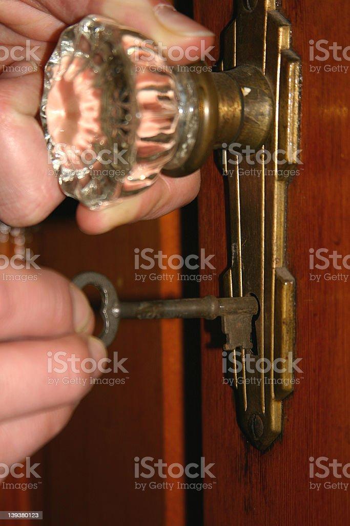 Opening the Old Door stock photo