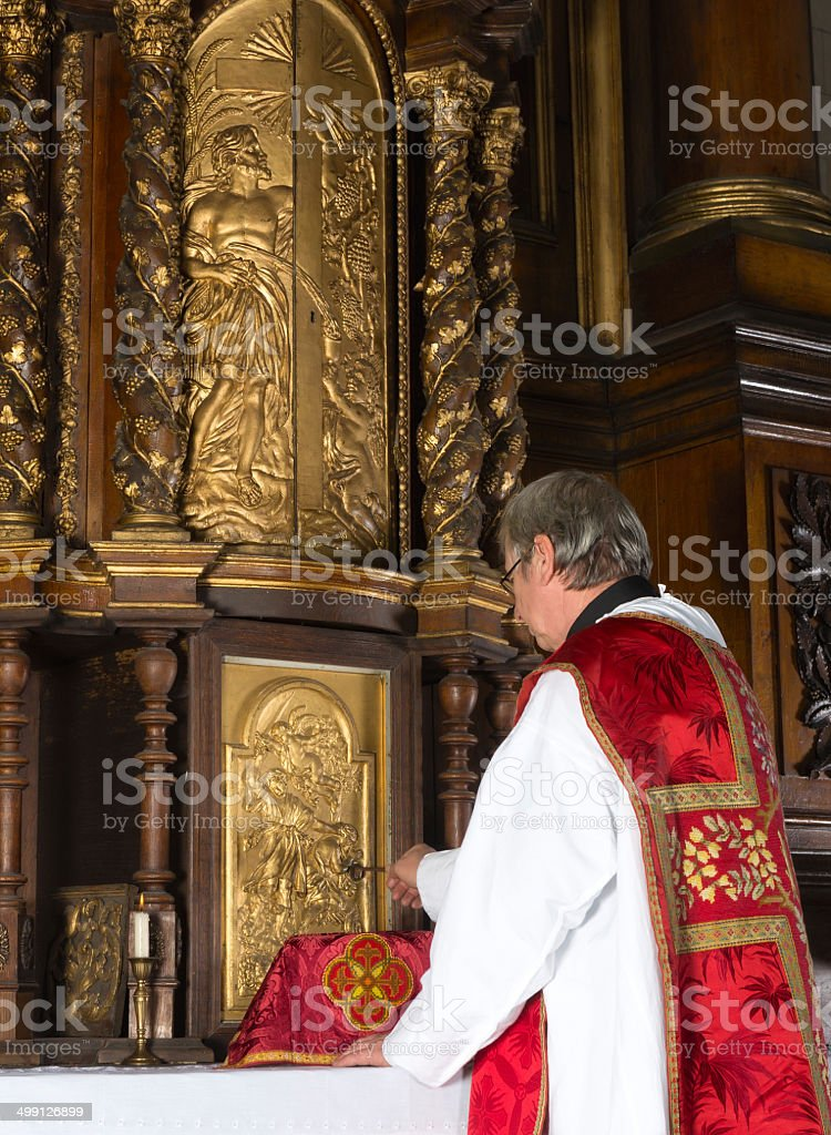 Opening the tabernacle stock photo