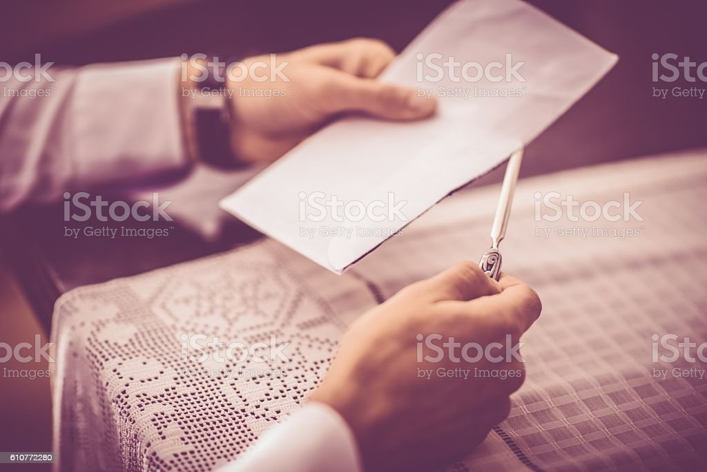 Opening Vintage Letter stock photo