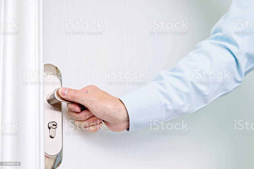 Opening white door stock photo