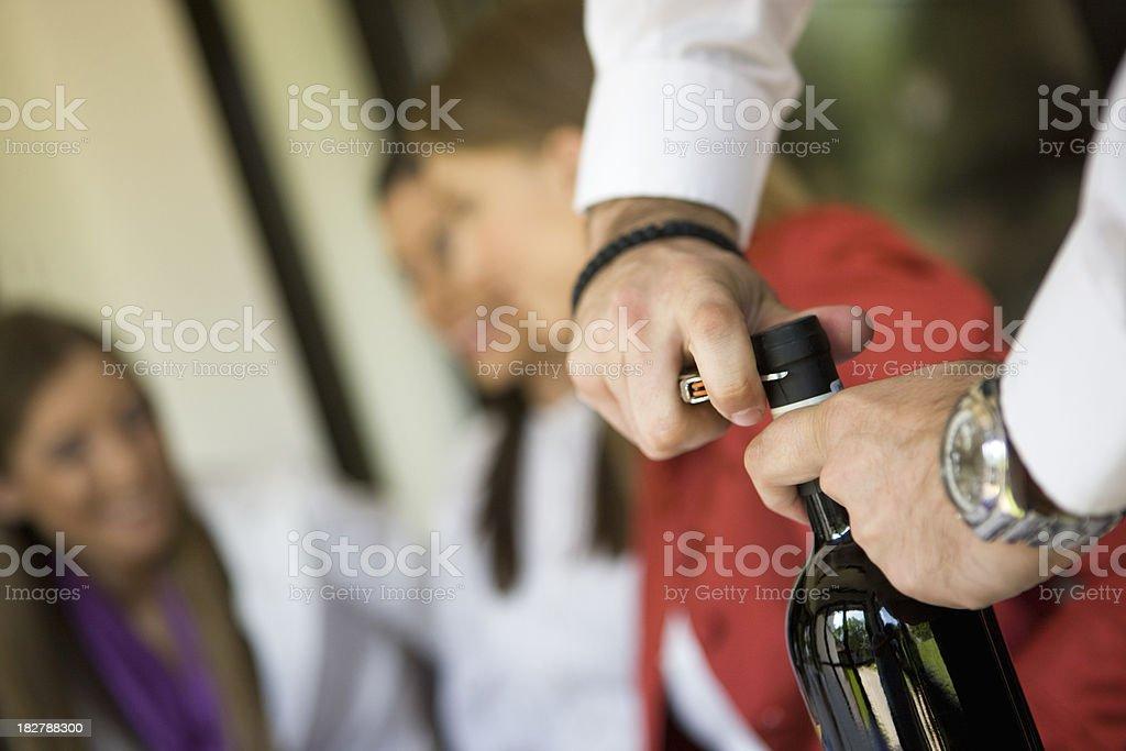 Opening wine royalty-free stock photo