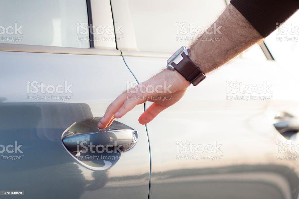 Openning car door stock photo