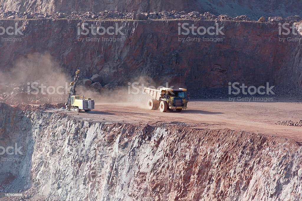 Open-pit Mine with Dump Truck and drill royalty-free stock photo