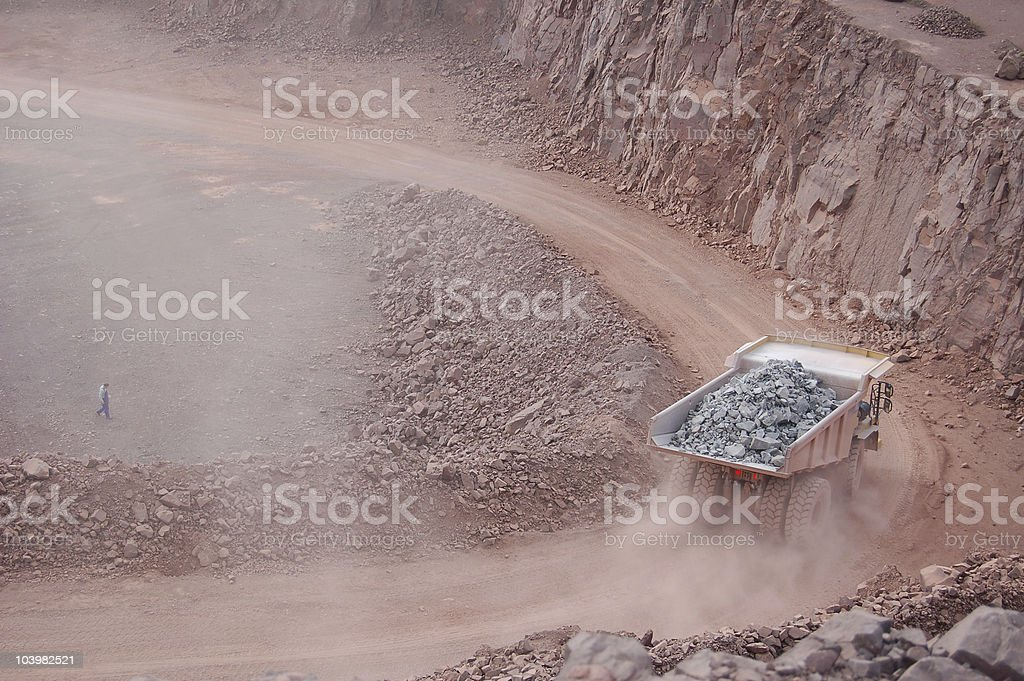 Open-pit Mine with Dump Truck royalty-free stock photo