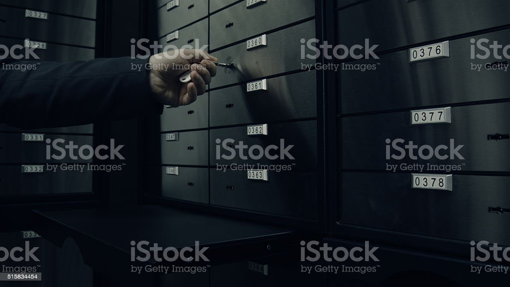 Opens one of safety deposit box stock photo