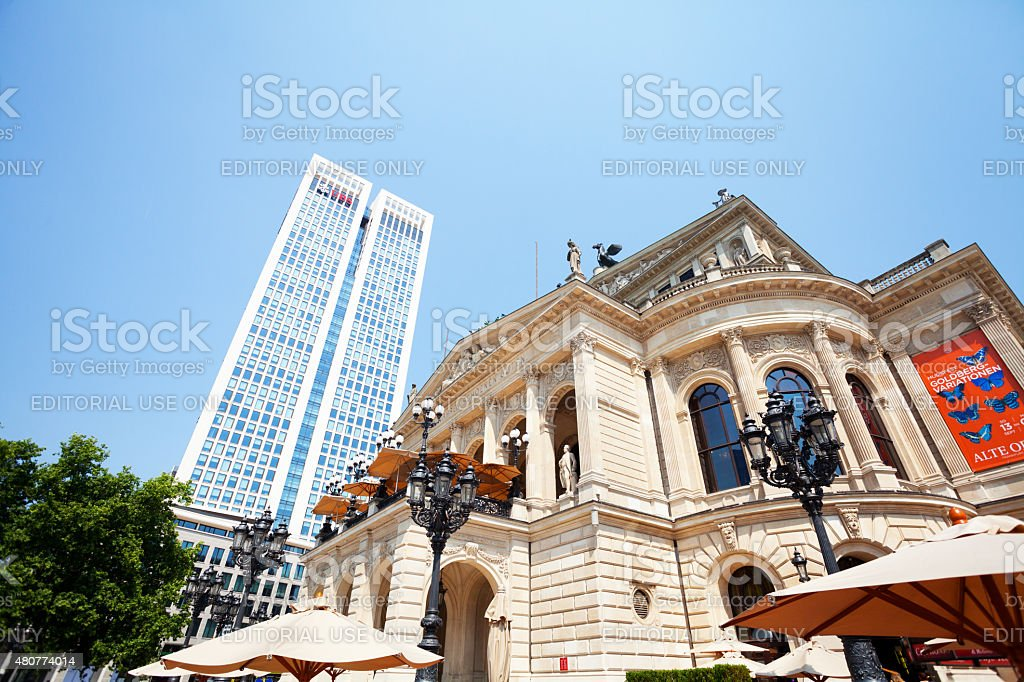 Opera Alte Oper and UBS bank tower stock photo