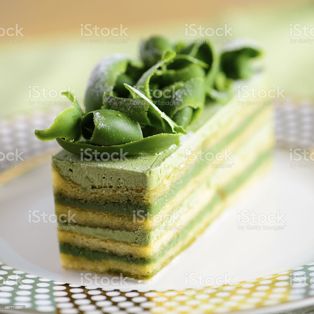 'Opera' Cake with Matcha Chocolate Curls stock photo