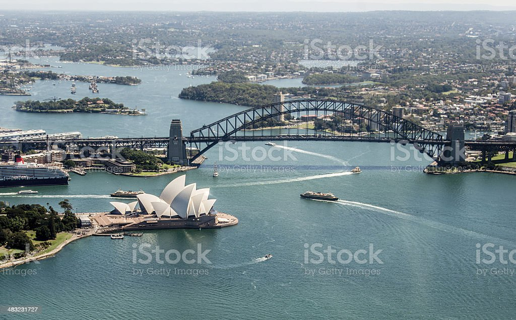 Opera House and Harbor Bridge in Sydney, Australia stock photo
