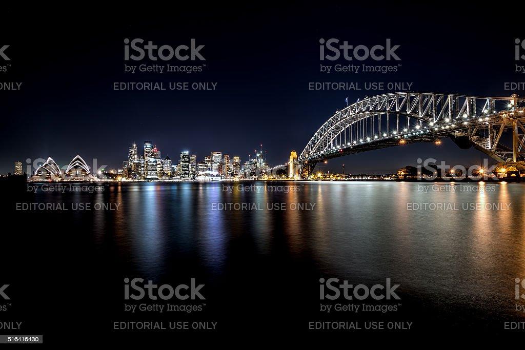 Opera house and Harbour bridge at night. stock photo