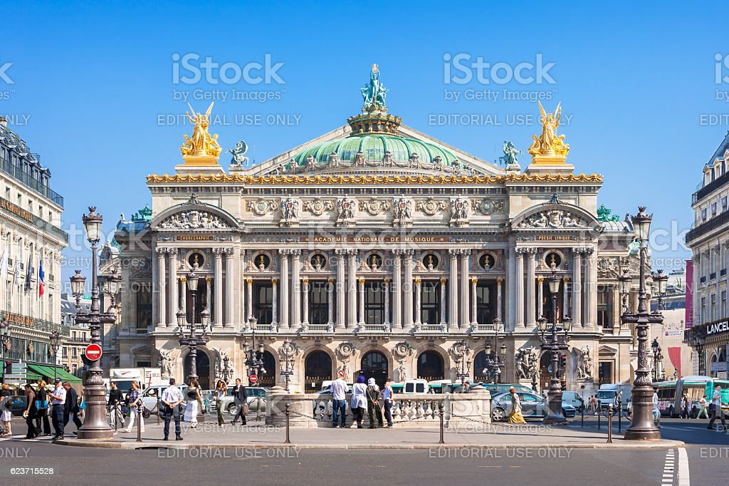 Opera house (Grand Opera; Opera Garnier) at night. Paris, France stock photo