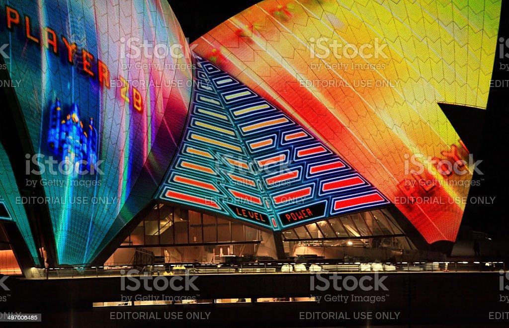 Opera House sails during Vivid Sydney royalty-free stock photo