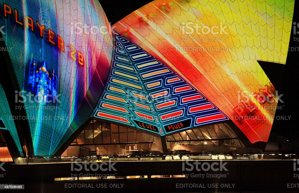 Opera House sails during Vivid Sydney stock photo