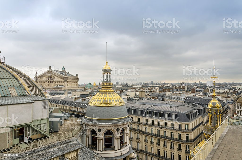 Opera House(Palais Garnier) with roofs of Paris stock photo