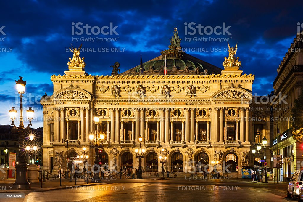 Opera National de Paris - Grand Opera (Opera Garnier) at night, Paris, France stock photo