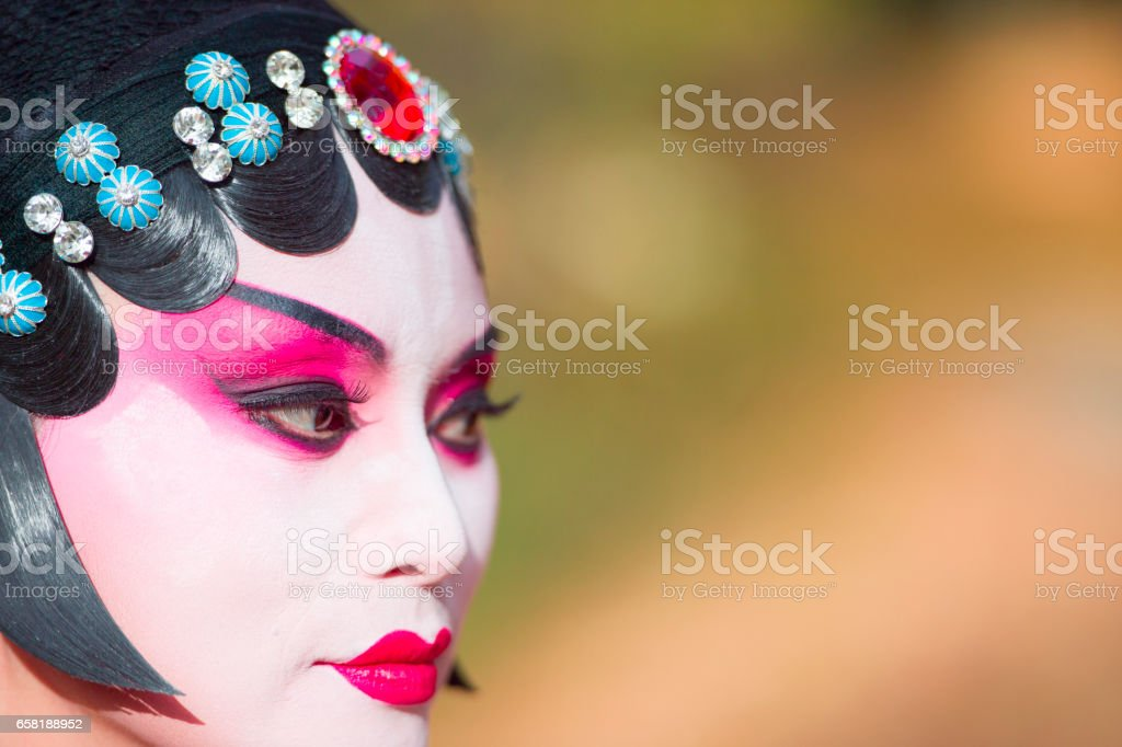 Opera performer in the fall outdoor park, Toronto, Canada stock photo