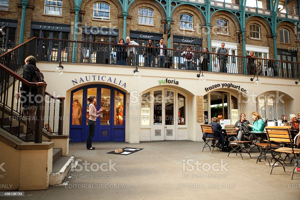 Opera Singer in Covent Garden Apple Market stock photo