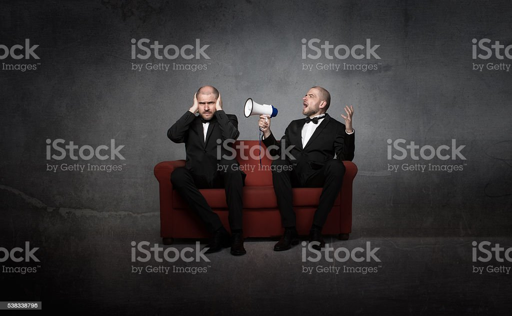 opera snger with megaphone stock photo