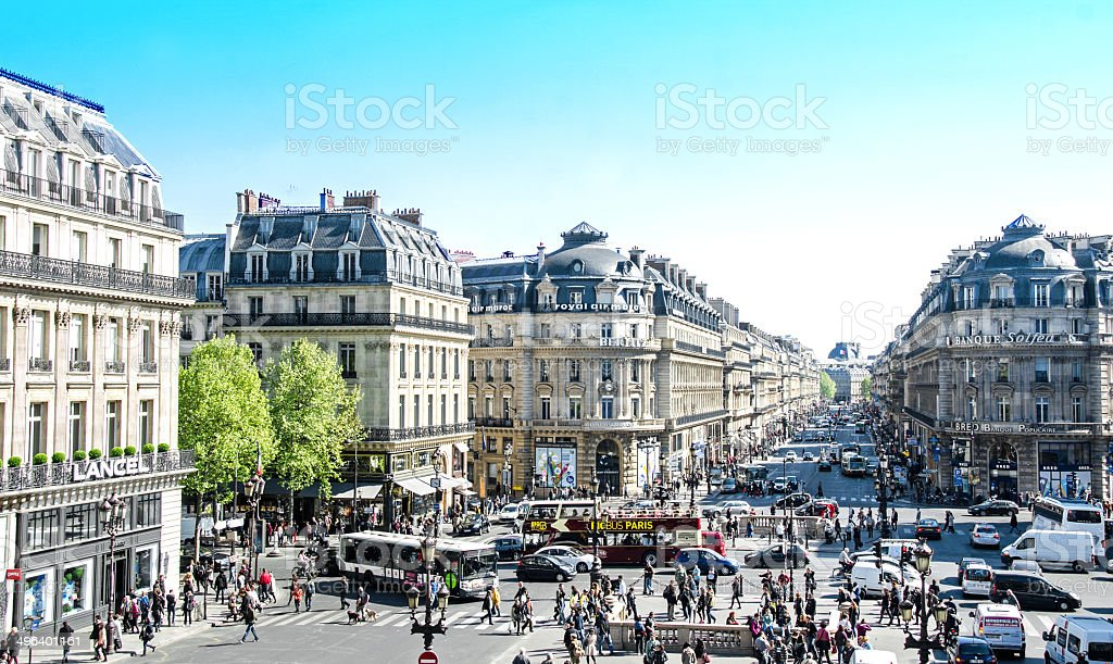 Opera Street Paris stock photo