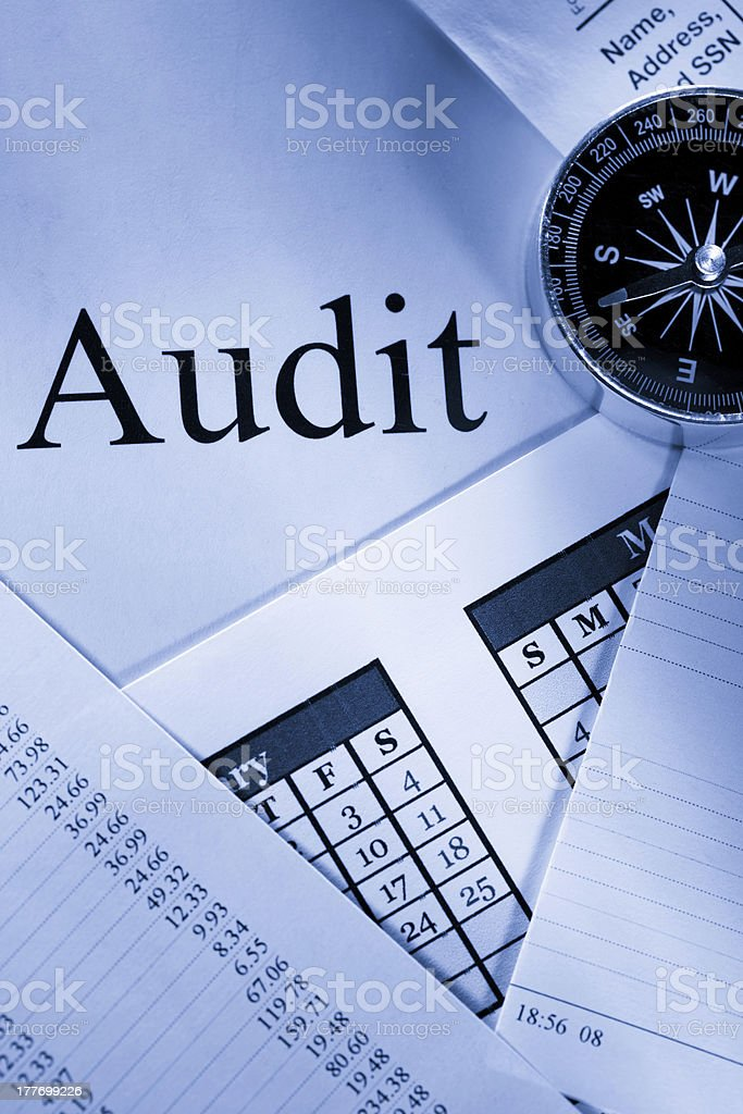 Operating budget, calendar, compass and audit royalty-free stock photo