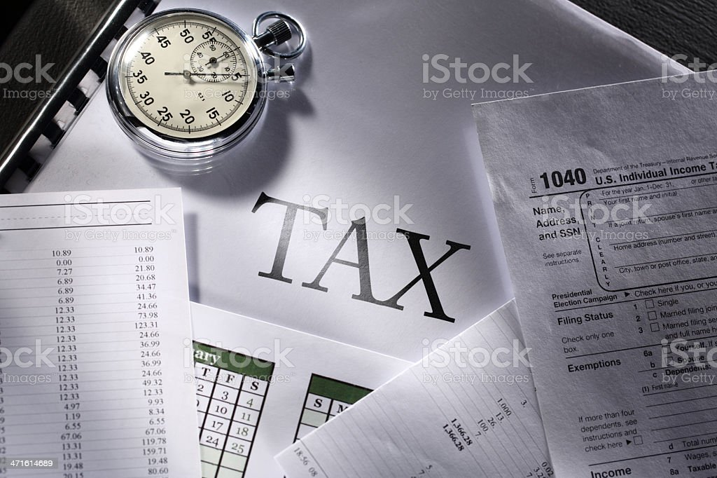 Operating budget, calendar, stopwatch and tax royalty-free stock photo