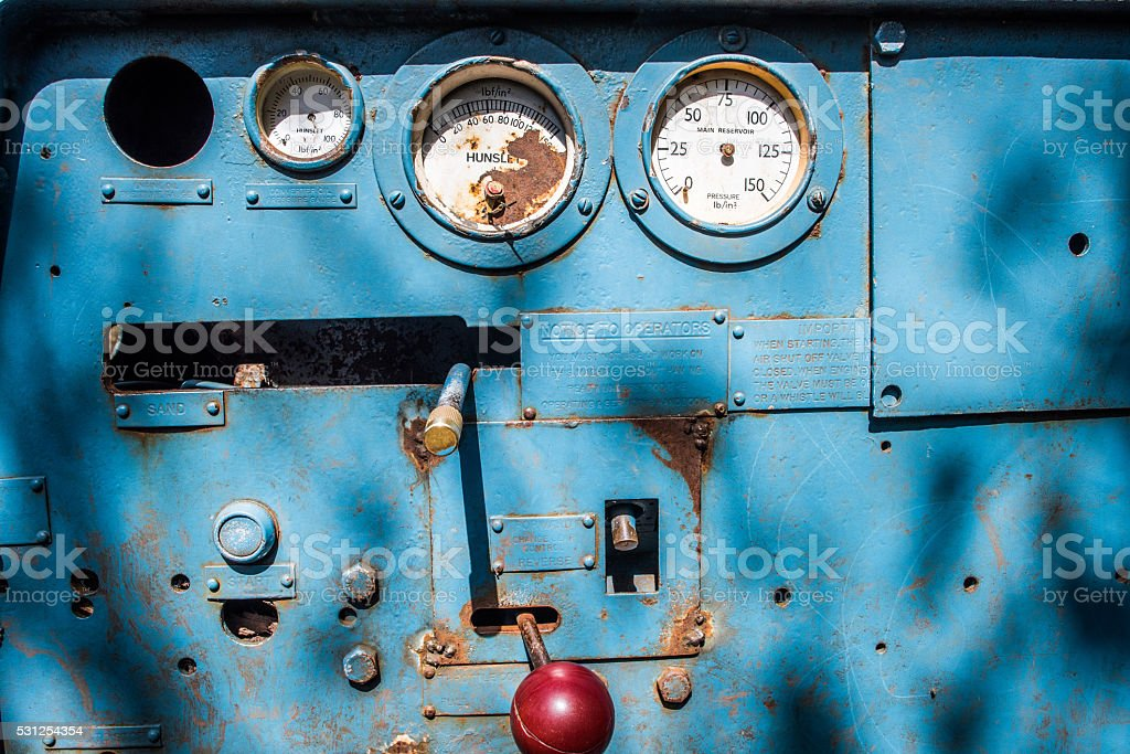 operating control panel on an old mine train stock photo