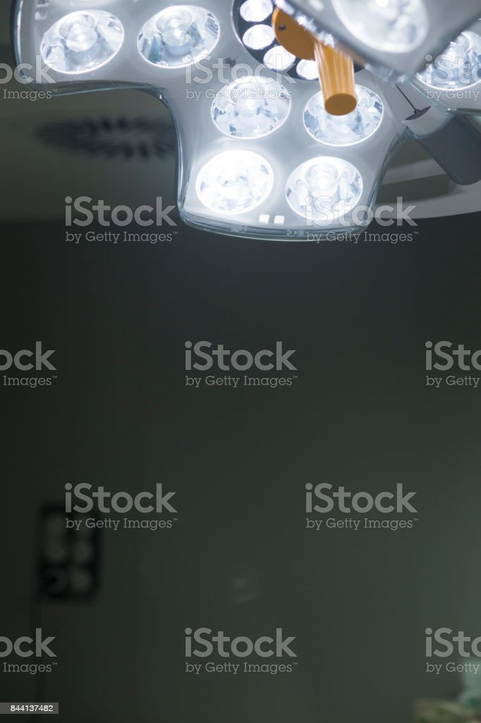 Operating emergency room surgery theater lighting in hospital to enable surgeon to see well in operations stock photo