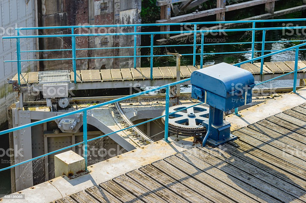 Operating mechanism old sluice gates stock photo