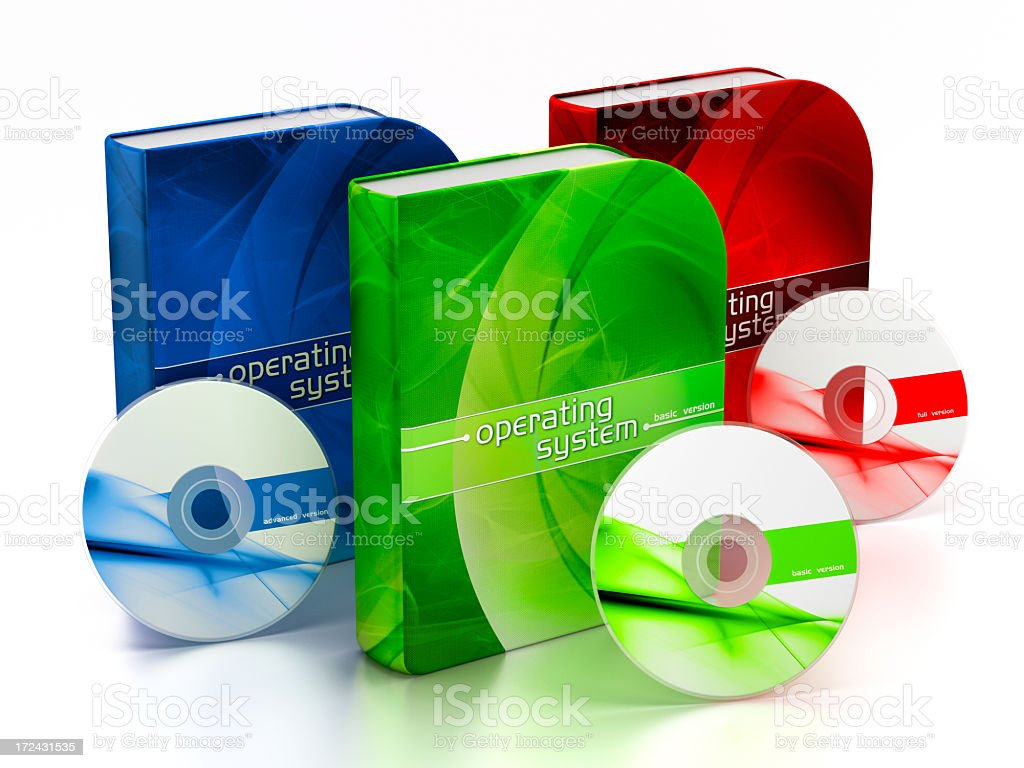 Operating system package box stock photo