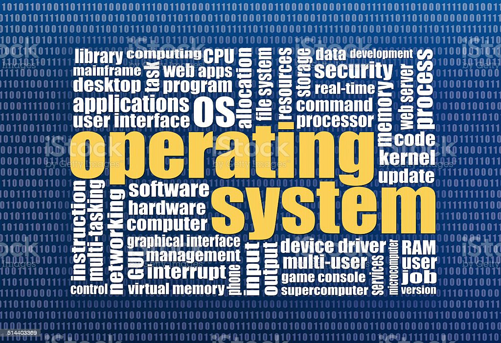 operating system word cloud stock photo