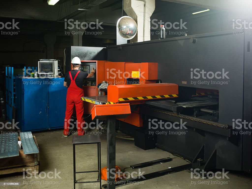 operating the control panel stock photo