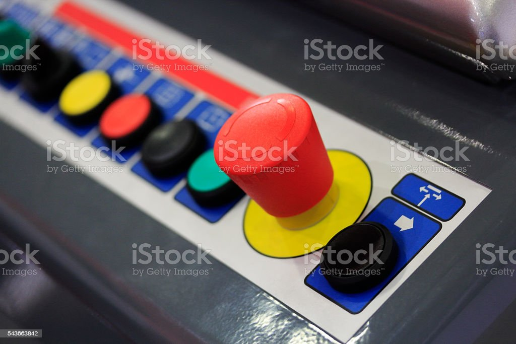 operation panel of industrial machinery stock photo