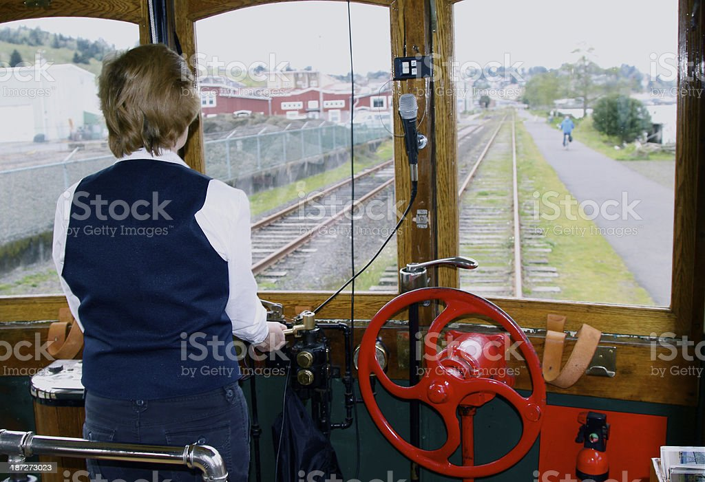 Operator Driving An Old Trolley royalty-free stock photo