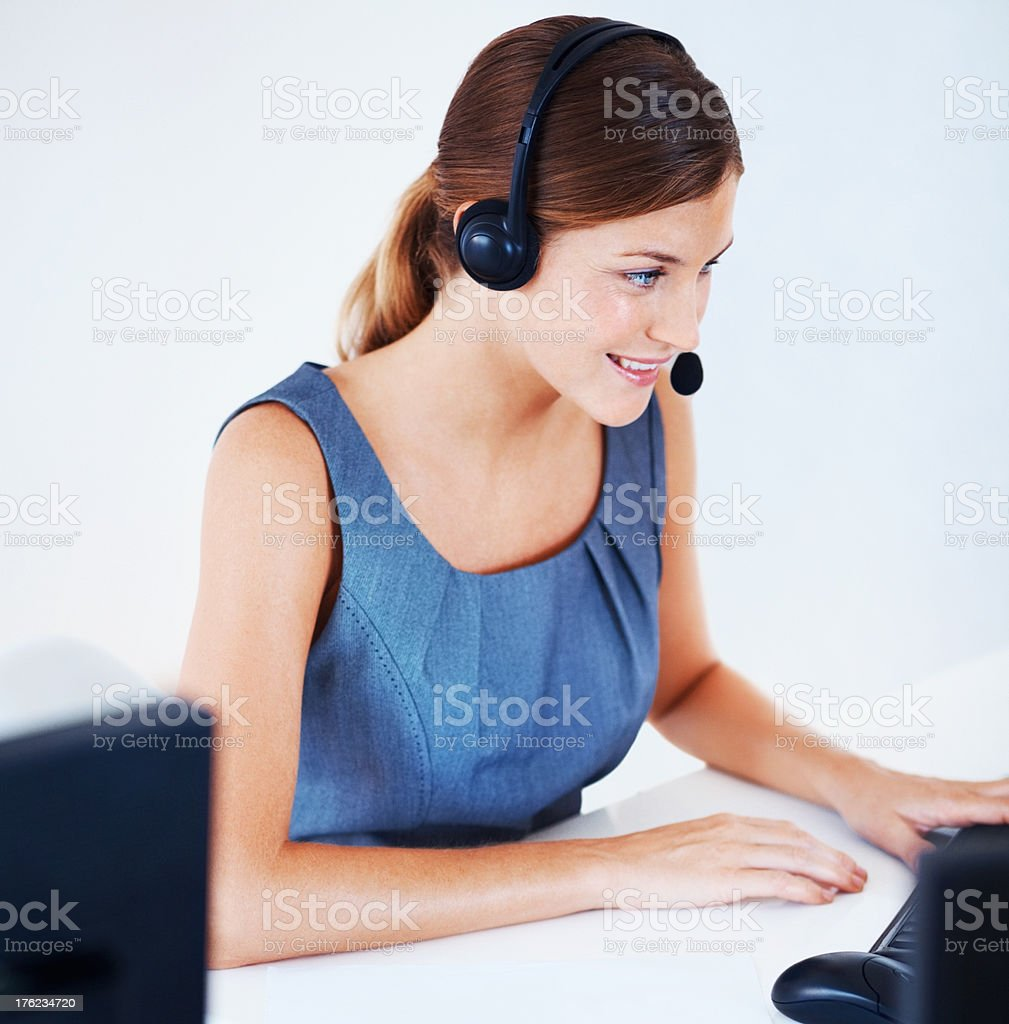Operator giving service to customer stock photo