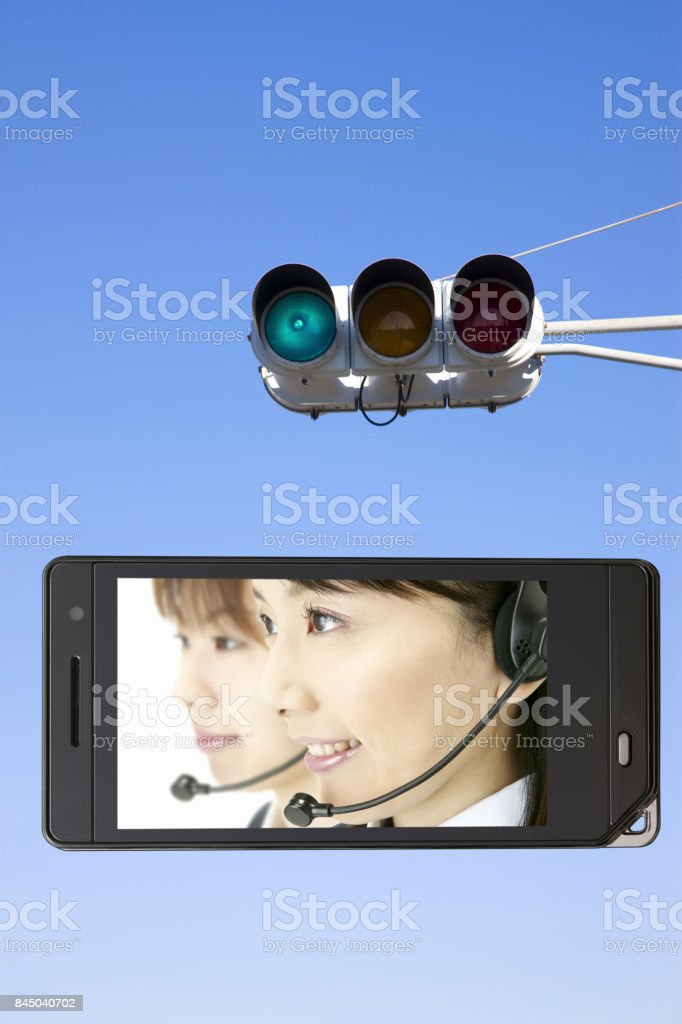 Operator on the mobile screen and signals stock photo