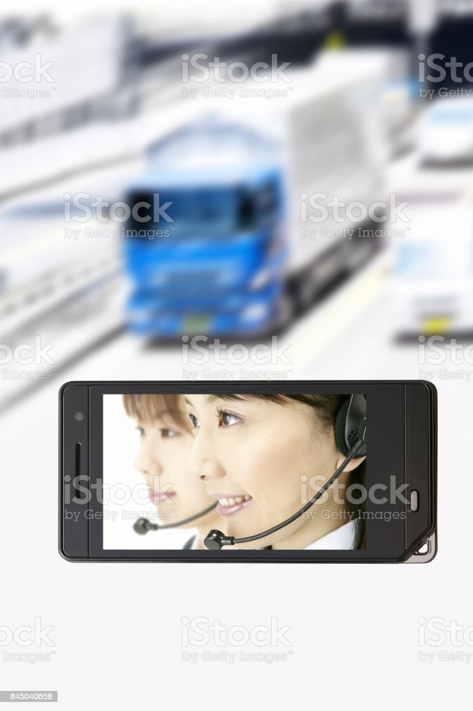 Operator on the mobile screen stock photo