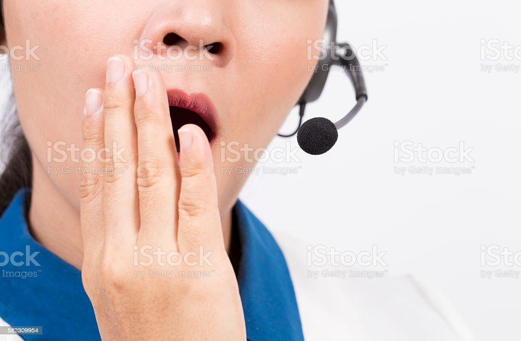 Operator or businesswoman in headset stock photo
