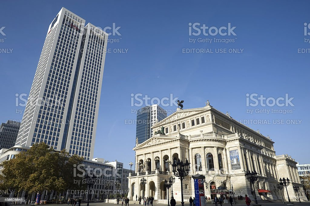 Opernturm and old Opera house, Frankfurt, Germany stock photo