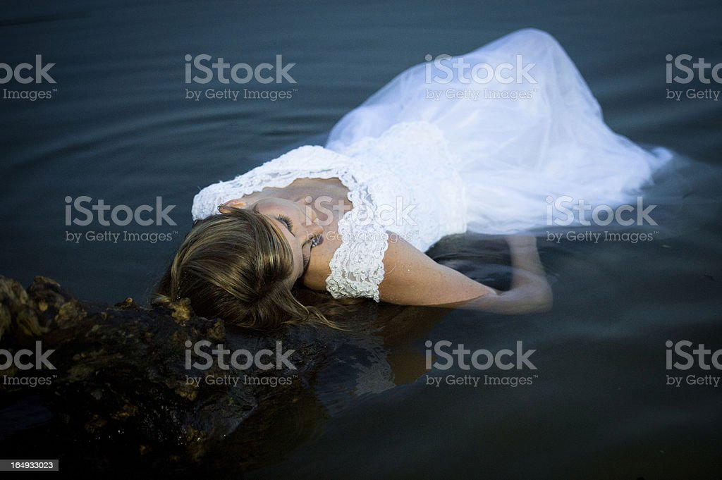 Ophelia: Shakespearean Bride Floating in Water stock photo