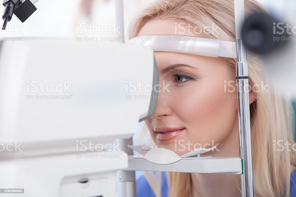 Ophtalmology diopters calibration in oculist lab stock photo