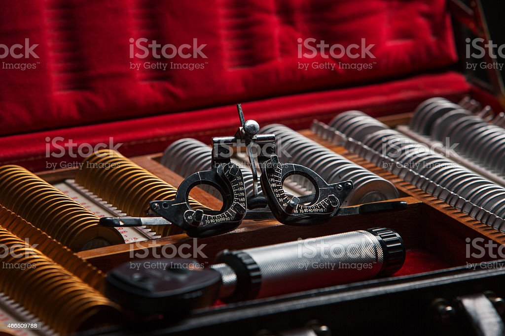 ophthalmologist  box with lenses stock photo