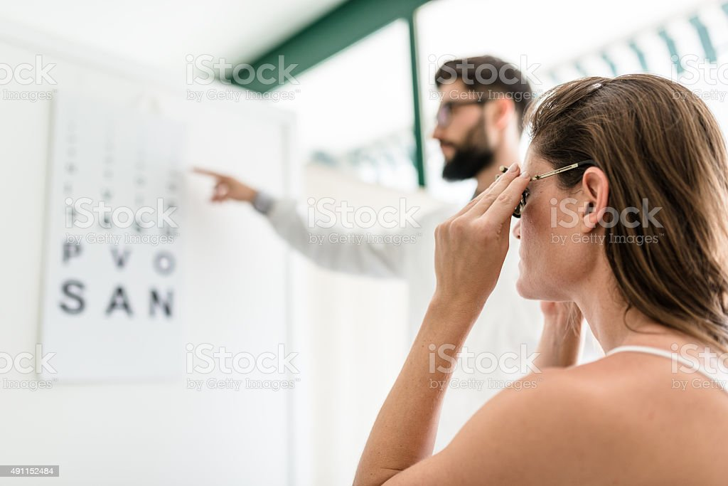 Ophthalmologist doctor with the snellen chart stock photo