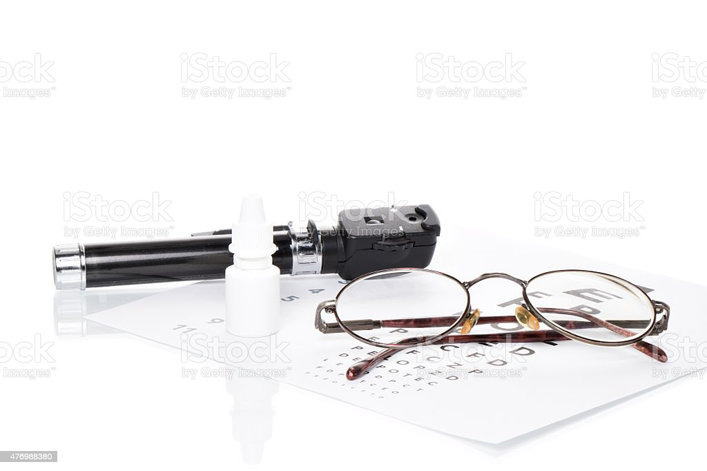 Ophthalmoskop, Sehtest und Brille stock photo