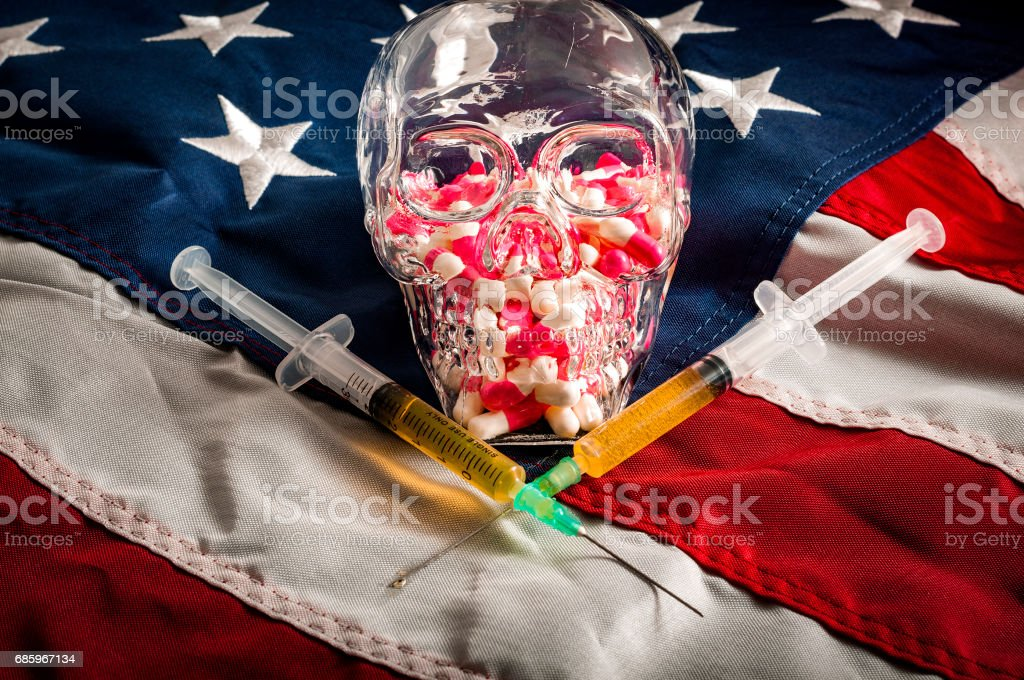 Opioid epidemic or opioid crisis and addiction to prescription drugs stock photo